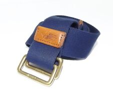 NEW POLO RALPH LAUREN BELT MEN'S NAVY BLUE COTTON TAN LEATHER LOGO TRIM BELT XL