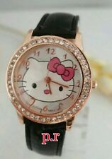 New Fashion Cute Cartoon Watch Hello Kitty Watche Woman Quartz Watch Color Black