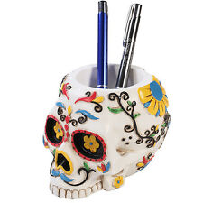 White Day of The Dead Skull Office Stationery Utility Holder Dia De Los Muertos