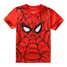Kids Baby Boy Short Sleeve T-shirt Cartoon Spiderman Tee Top Blouse Clothes 2-7Y