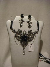 Alchemy Gothic necklace and ear ring set  in pewter Mesukmus