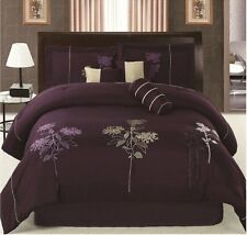 Luxurious 7-Piece Dark Purple Embroidery Bedding in a Bag  New.