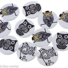 25PCs Mixed 4 Holes Sewing Wood Buttons Printed Black Owl 3cm