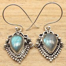 Ethnic Earrings ! Original Drop LABRADORITE Silver Plated FACTORY DIRECT Jewelry