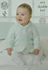KNITTING PATTERN Baby's Easy Knit Long Sleeve Double Breasted Jacket DK KC 4318