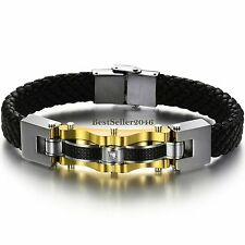 Gold Tone Stainless Steel  Black Carbon Fiber Leather Braided Wristband Bracelet