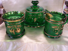 """Northwood Glass 3 Pc. Set-Green-""""Peach""""-Creamer,Sugar,Covered Butter/Cheese Dish"""