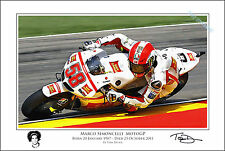Marco Simoncelli Signed MotoGP Ltd Edition Art Print Memorial - Valentino Rossi