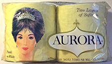 Vintage AURORA 2 Roll Package Toilet Paper Facial Tissue Yellow Pastel White NIP