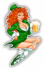 "Leprechaun Girl Beer Saint Patrick's Day Car Bumper Sticker Decal 3"" x 5"""