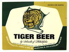 C Schmidt & Sons TIGER BEER label PA Brewed for Nigeria