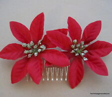 """Double 3 1/2"""" Red Poinsettia Silk Flowers  Hair Comb,Christmas, Holiday Party"""