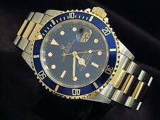 Rolex Submariner Mens 18k Yellow Gold & Stainless Steel Blue Date Sub SEL 16613