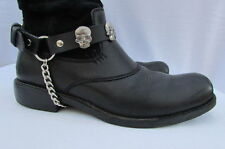 New Biker Men Western Women Boots Silver Chains Pair Leather Straps Metal Skulls
