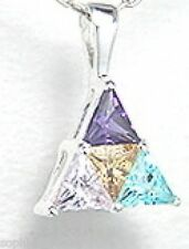Radiant Amethyst, Aquamarine, Citrine Pendant Necklace set in Sterling Silver