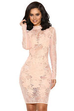 """HOUSE OF CB 'Gialla' Peach Mesh and Lace Long Sleeved Dress """"Faults."""" MM 5638"""