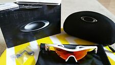 New! Oakley Radar Path Sunglasses Polished White/Red Iridium Lens 100% UV ~Asian