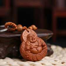 1pc Religious Maitreya Buddha Wood Collectable Bag Accessary and keyring Amulet