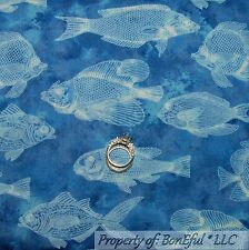BonEful Fabric FQ Cotton Quilt Blue White Fish Water Cabin Hunt Trout Bass Toile