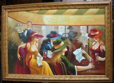 LIQUIDATION CLEARANCE! RARE ESTATE COLORFUL PAINTING MEN & WOMEN SITTING IN CAFE