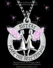 "SISTERS MAKE THE BEST FRIENDS NECKLACE ANGELS - 24"" PINK SWEET GIFT FREE SHIP  *"