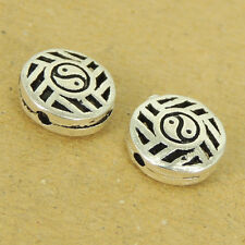 2 PCS 925 Sterling Silver Tai Chi Round Bead Vintage Jewelry Making WSP508X2