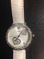 Guess Crystal Heart, White Leather Watch.