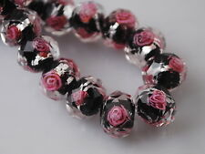 8mm Rondelle Faceted Glass Rose Flower Inside Lampwork Beads Loose Spacer NEW