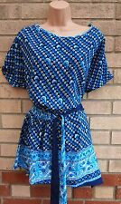 BLUE BLACK BELTED SIDE FLORAL 100% SILK BOHEMIAN TUNIC BLOUSE CAMI TOP M L
