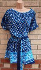 Azul Negro Con Cinturón lado Floral 100% Seda De Bohemia túnica Blusa Cami de Superdry M L