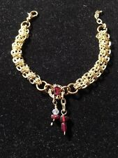 Handmade Genuine Garnet Golden flat Chainmaille Linked Crystal Bracelet jewelry