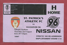 Orig.Ticket  Europa League 12/13  St.PATRICK`s ATHLETIC - HANNOVER 96  !! SELTEN