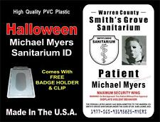 HALLOWEEN Movie ID Badge / Card Prop - MICHAEL MYERS Sanitarium ID - PVC PLASTIC