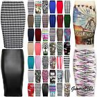 NEW LADIES WOMEN MIDI BODYCON PENCIL PLAIN PRINTED HIGH WAIST TUBE SKIRT 8-22