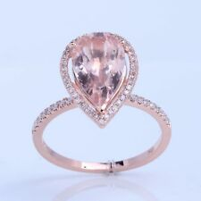 Solid14k ROSE Gold 8x12mm Pear Morganite Engagement Diamond Ring Halo Setting