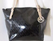 Michael Kors Black SILVER Patent PVC Mirror Signature Jet Set Top Zip Tote Bag
