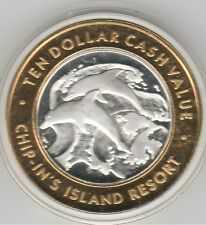 Chip-In's Island Resort Harris, MI DOLPHINS .999 Fine Silver Casino Token