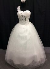 One Shoulder Sweetheart Neckling White Ball Gown Wedding Dress Plus Size 18W