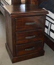 COBAR BEDSIDE CHEST 3 DRAWER IN SOLID TIMER - RUSTIC WALNUT