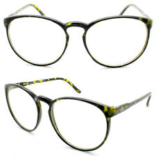 Tortoiseshell Tall Round Frame Retro Clear Lens Ladies Glasses Large 60s Style D