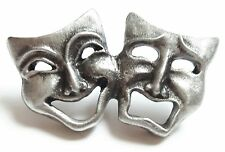 Comedy and Tragedy Mask Handcrafted From English Pewter Lapel PinBadge + GiftBag
