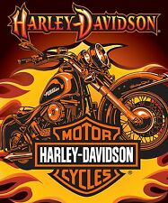 """Harley Davidson"" Sunset Officially Licensed Queen Size Blanket"