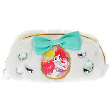 Ariel Pen Case Pencil Pouch Fluffy Ribbon white ❤ Disney Store Japan