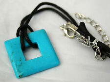 Large Blue Turquoise Square Crystal Gemstone Pendant Necklace Reiki Blessed