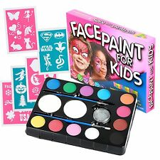 Face Paint Kit for Kids (47 Pieces) 12 Color Palette: 30 Stencils 2 Brushes NEW