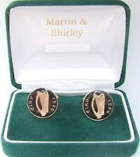 1986 IRISH Cufflinks made from old IRELAND  coins in Black & Gold