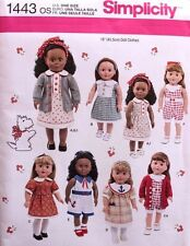 """18"""" GIRL DOLL CLOTHES Simplicity Sewing Pattern 1443 American Made NEW Uncut"""