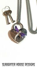 SHD Dragonfly Heart Lock Padlock Necklace Permanent Day Collar BDSM Submissive
