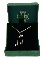 .925 Sterling Silver Pendant & Necklace Gift Boxed Musical Note Pendant