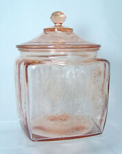 Vintage Pink Depression Federal Glass MADRID Biscuit or Cookie Jar